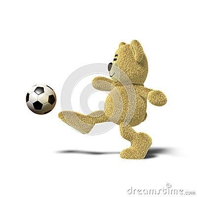 Nhi Bear kicking a soccer ball, Side