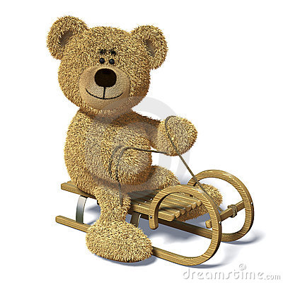 Free Nhi Bear On The Sledge. Stock Photo - 12036090
