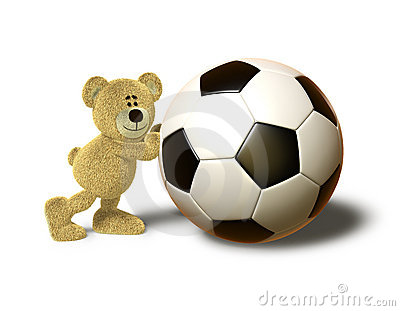Nhi Bear pushes a big Soccer Ball