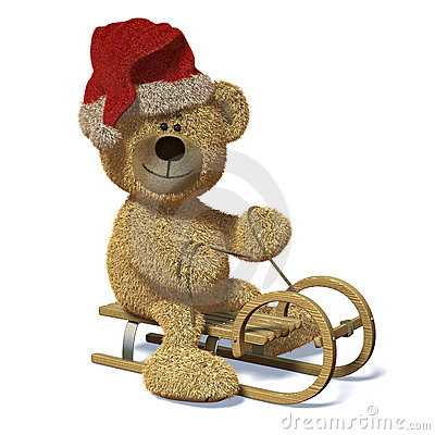 Nhi Bear on the sledge with Santa s Cap.