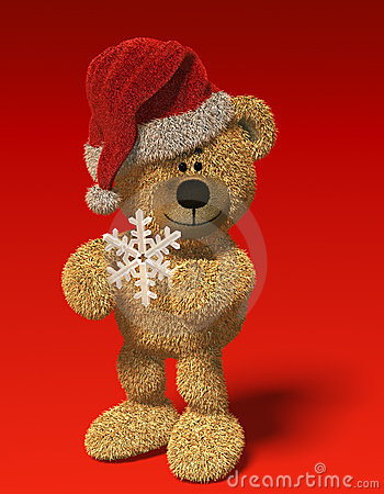 Nhi Bear with snow-flake and Santa s cap