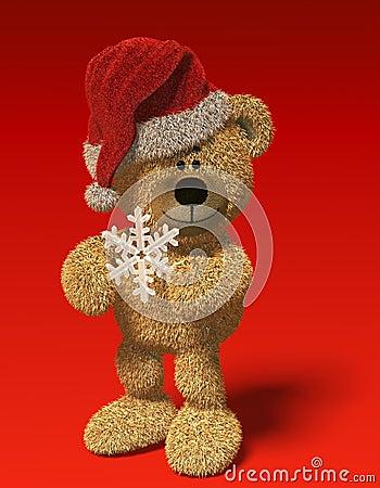 Nhi Bear with snow-flake and Santa s cap