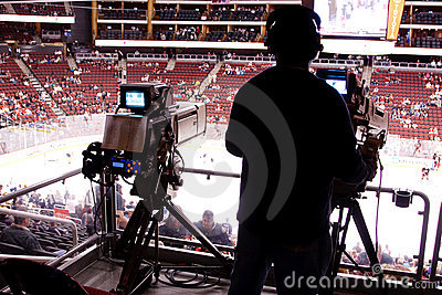 NHL Hockey Game - Broadcast Cameras Editorial Stock Image