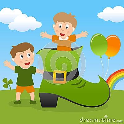 Niños de St Patrick s y zapato verde