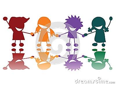 Niños felices en muchos colores