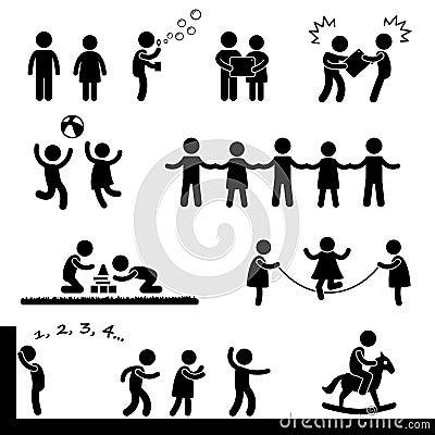 Niños felices que juegan el pictograma