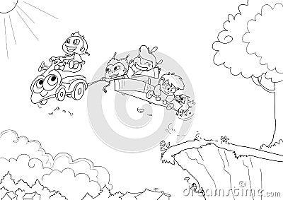 Niños que conducen - bw
