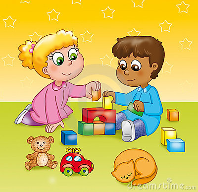 Niños que juegan en un jardín de la infancia