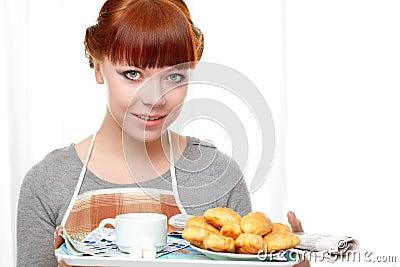 śniadaniowa mienia gospodyni domowej taca