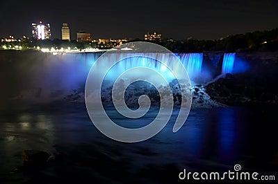 Niagara Falls - American Falls and Bridal Veil Falls by night