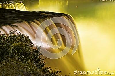 Niagara Falls on the American Side in Yellow.