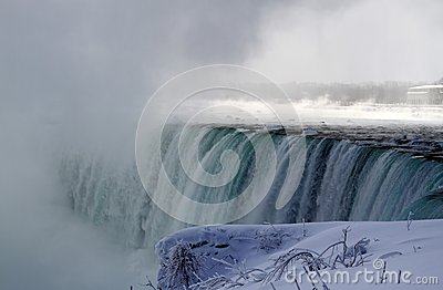 Niagara Falls cascading in winter season