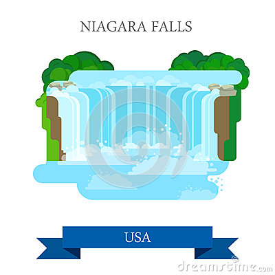 Free Niagara Falls In United States / Canada. Flat Cart Royalty Free Stock Images - 71822449