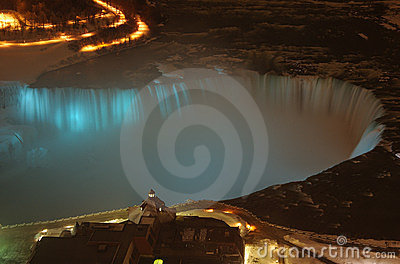 Niagara Falls Lit Up Blue