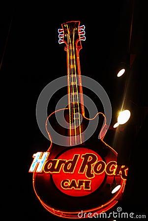 Hard Rock Cafe Guitar Display Editorial Stock Image