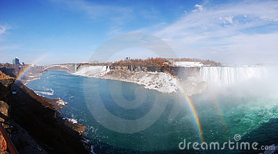 Niagara Falls and rainbow panorama