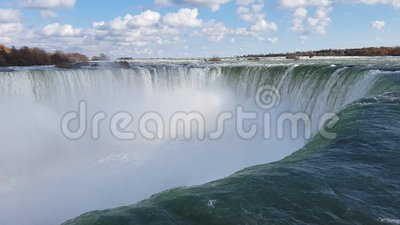 Niagara Falls. Roaring water over Niagara Falls stock footage
