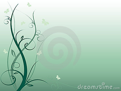 Nice abstract floral background with butterflies