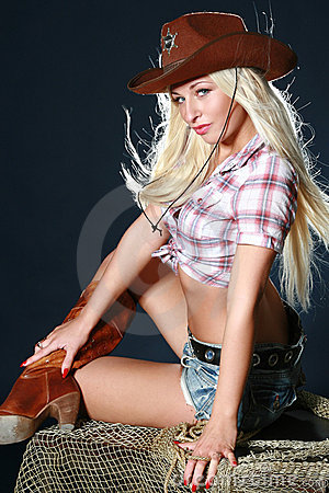 Nice babe in a cowboy s hat