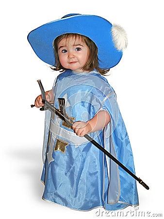 Nice baby in blue musketeer costume