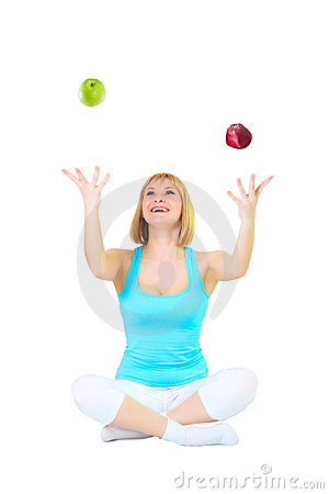 Nice blonde juggles apples