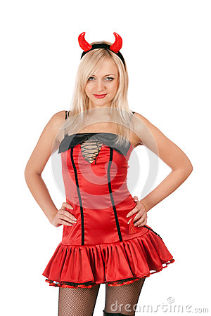 Nice blonde is wearing a devil costume