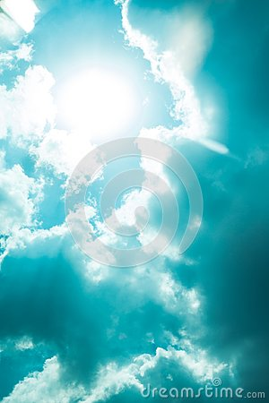 Free Nice Blue Sky Clouds Day With Corona Sun Gap Summer Time Stock Image - 99441671