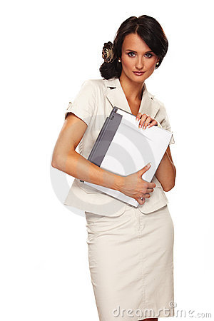 Nice business woman on white background