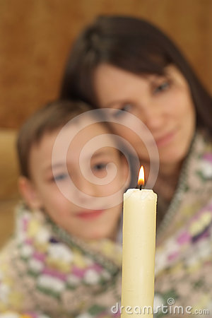 Nice charming Caucasian mom with her son