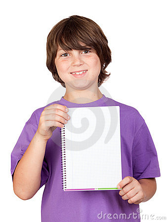 Nice child with blank notebook