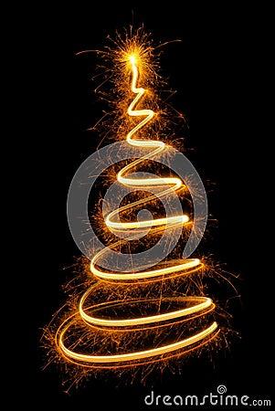 Nice Christmas tree drawn with sparkling light