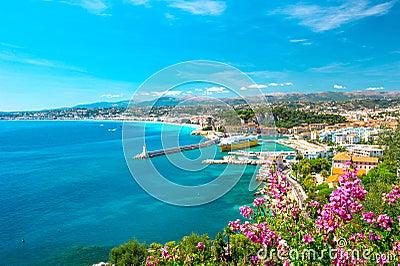 Nice city, french riviera, mediterranean sea