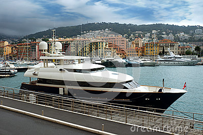 Nice - Expensive yacht anchored in the port Editorial Stock Image
