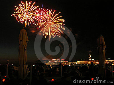 Nice explosions on the fireworks festval in Scheve