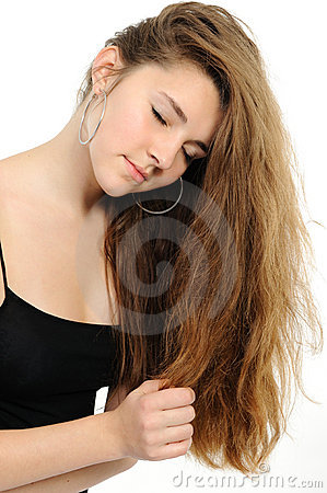 Nice fashion girl posing on white background