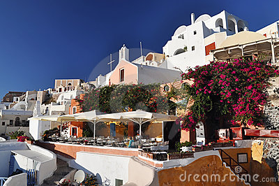 Nice garden in Oia, Santorini, Greece