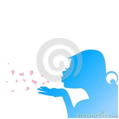 Nice girl blowing flower petals