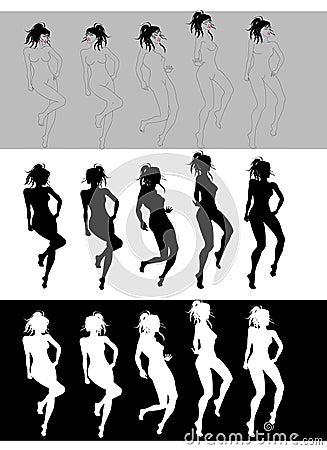 Free Nice Girl Dancing Silhouette Stock Image - 2850711