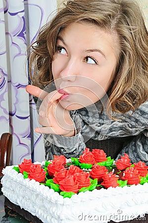 Nice girl eat cake