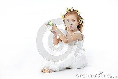 Nice girl in flower dress