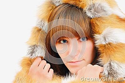 Nice girl in fox fur