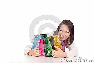 Nice girl with gifts