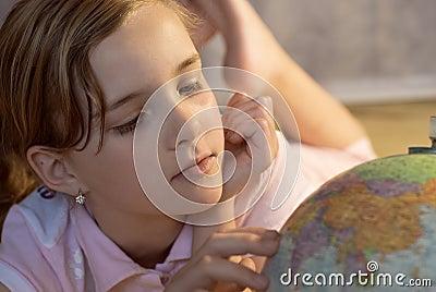 Nice girl and globe