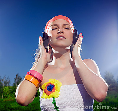 Nice girl with headphones