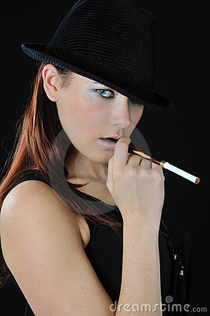 Nice girl hold cigarette