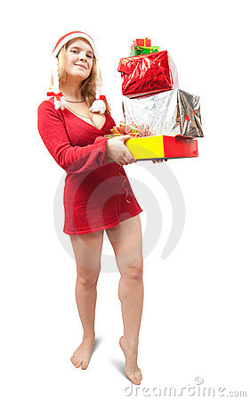 Nice girl holding coloured festive boxes