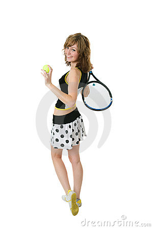 Nice girl holding a tennis racket
