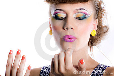Nice girl with make-up and manicure