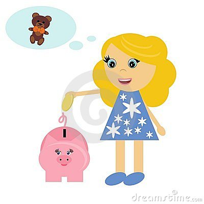 Nice girl and piggy bank