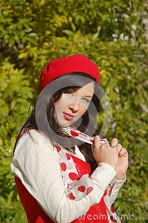 Nice girl in red beret